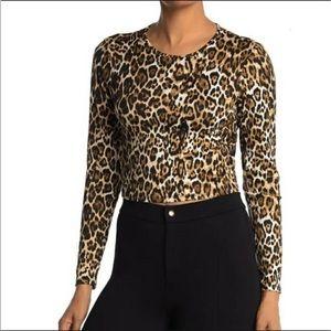 WAYF leopard stretch Crop top NWT